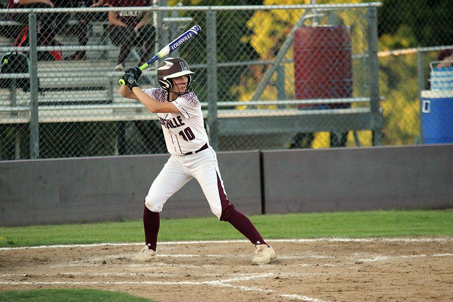 Senior Lindsay French prepares to hit the ball against Plano on April 22.
