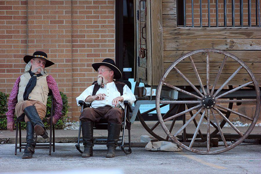 The Legends of Texas Gunfighters relax before their show.