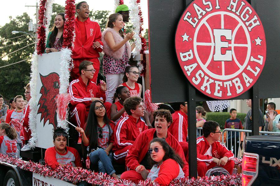 The theater float advertises this years musical, High School Musical. Members of the cast and crew sung along to some of the music as the float drove by on Wednesday, Oct. 19.