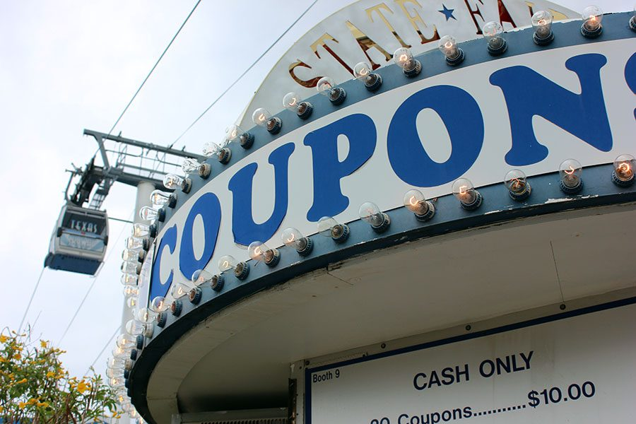 Coupon stands are found throughout the fair to be used for food and rides.