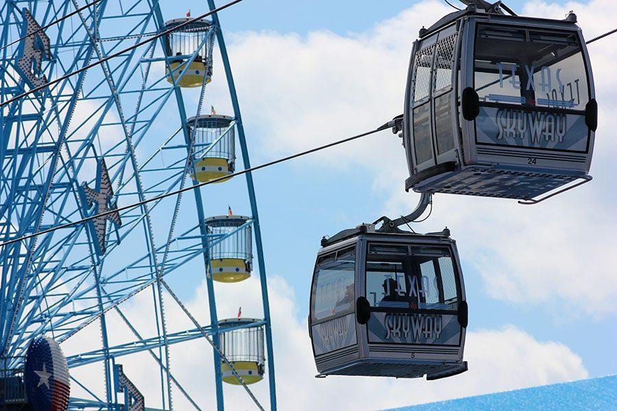Texas Skyway carries passengers through the fair to give them aerial views.