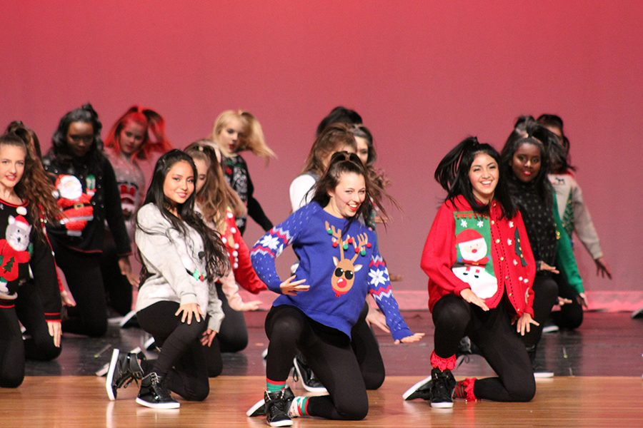 After a short intermission, the Farmerettes begin the show with their Holiday Hip Hop performance. This dance was choreographed by MA Dance and juniors Dani Longoria, Olivia Moore and Jade Smith.