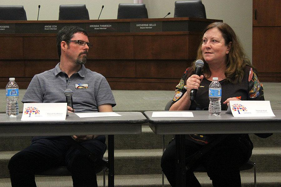 Child/adolescent therapist David Huffman and executive director of Grace Counseling Center Cheryl Rayl discuss a submitted question during the Whole Child Series panel on Tuesday, Feb. 28.