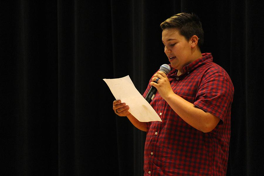 Senior Alex Mayfield recites the poem,