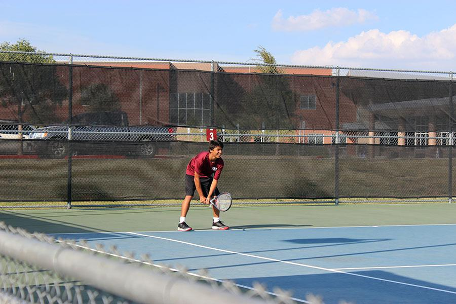 Sophomore Andre Cardenas sets up for a play.