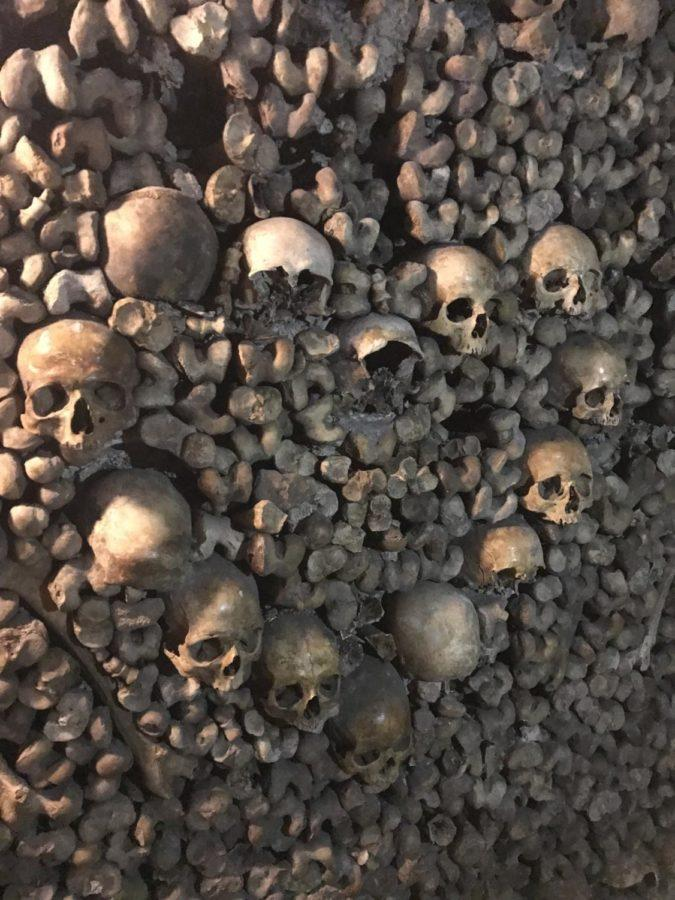 skulls made into a heart at the catacombs