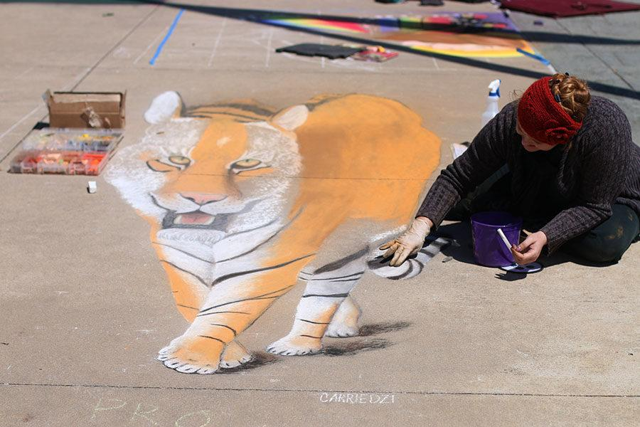 Artist Carrie Dziabczenko creates 3D chalk art.