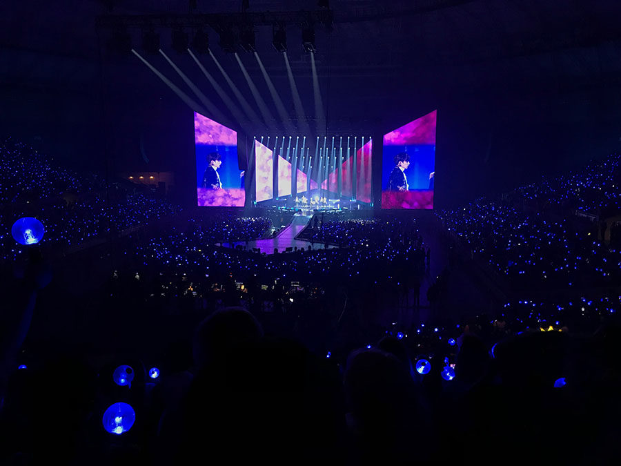 BTS performing Im Fine at the Fort Worth Convention Center.
