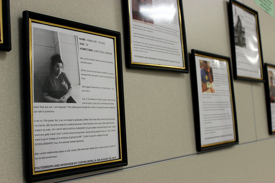 The first floor E wing showcases students projects made in English teacher Madelyn Johnsons classroom.