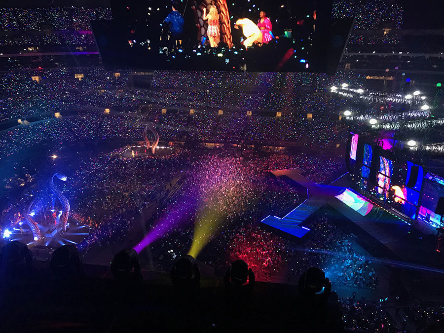 Taylor Swift performs Shake It Off with Charli XCX and Camila Cabello at AT&T Stadium on Friday, Oct. 5.