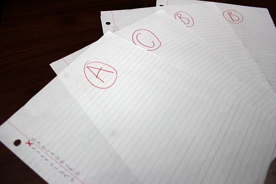 Graded papers sit on a desk.