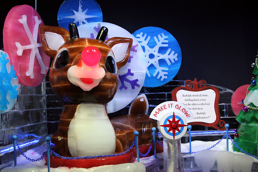 Rudolph carved out of ice is displayed at the ICE! Lone Star Christmas in Grapevine, Texas.