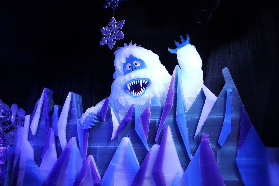 The snow monster climbs up the mountains while attempting to catch Hermey the Elf and Rudolph.