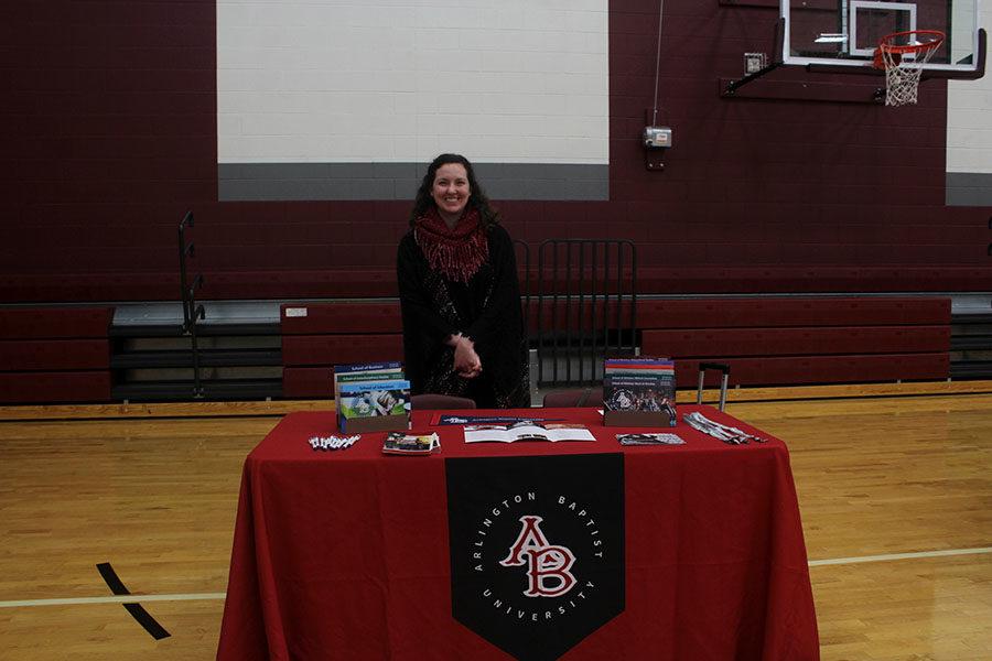 Counselor Melissa Hayward promotes Arlington Baptist University.