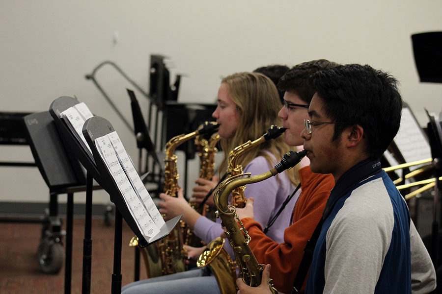 The jazz bands saxophone section rehearses during practice after school on Wednesday, March 6.
