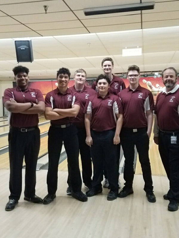 The boys bowling team places fourth in the regional tournament on Sunday, March 3. Courtesy of LHS Bowling.