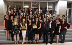 Theater members display their awards after advancing to bi-district on Friday, March 22. Courtesy of Lewisville Theatre.