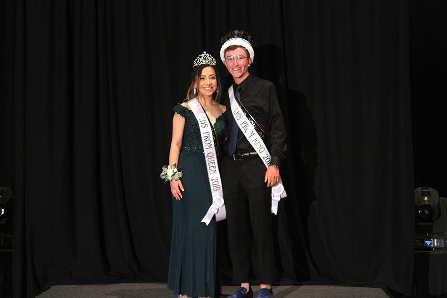 Seniors Wesley Brewer and Jackie Hernandez are announced Prom King and Queen.