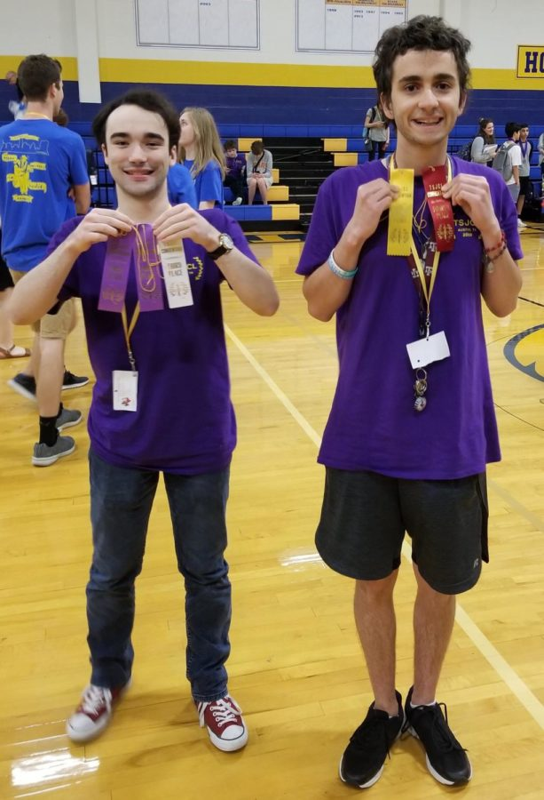 Seniors Aaron Jackson and Stephen Whitacre place at the Texas State Junior Classical League Convention on the weekend of April 5. Courtesy of Latin Club.