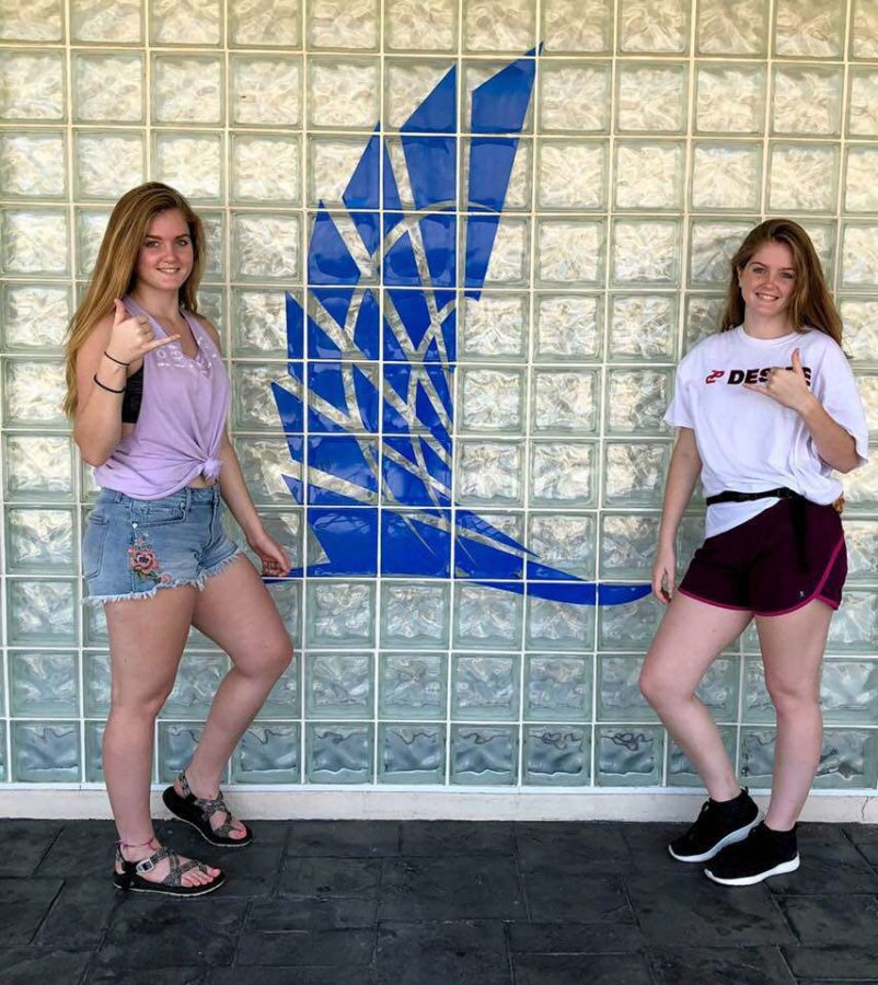Seniors Brooke and Paige Woelke tour the campus of Texas A&M University-Corpus Christi. Courtesy of Brooke and Paige Woelke.