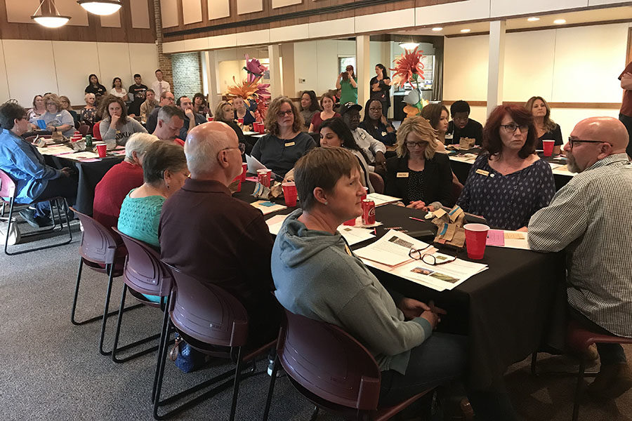 Community members gather for the first Lewisville Soup meeting on Friday, April 12. Courtesy of Nicole Franczvai.