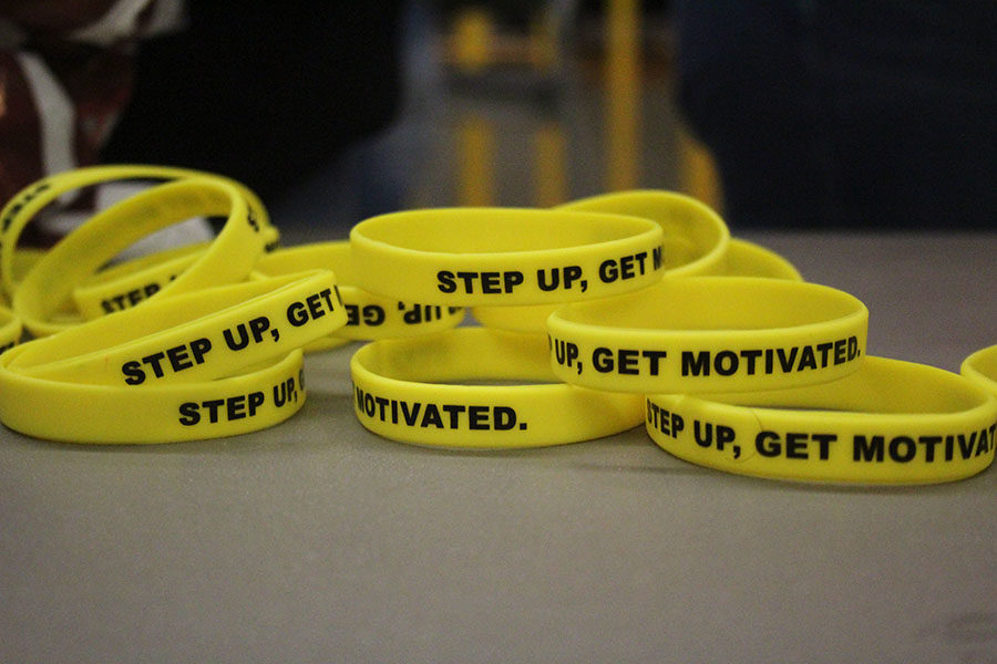 Step Up bracelets are displayed on a table at the Farmers Market on Tuesday, April 16.