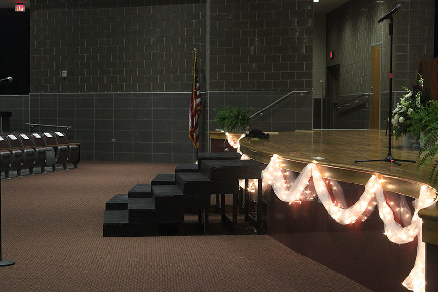 The stage during preparations for the ceremony.