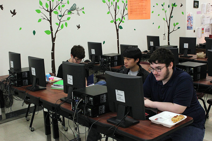 Senior Michael Busch and his teammates practice during B-block on Tuesday, Nov. 5 for the computer science competition.