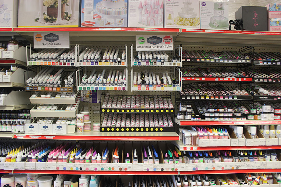 The store offers a wide selection of food coloring items.