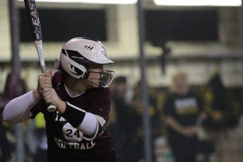 Senior Allie Barentine steps up to bat during the softball game on Friday, Feb. 14 against Frisco Memorial.