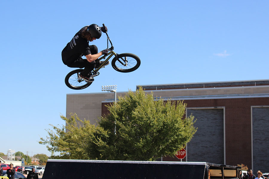 During the finale, Jared Wiedower rides up the ramp before landing on the other side.