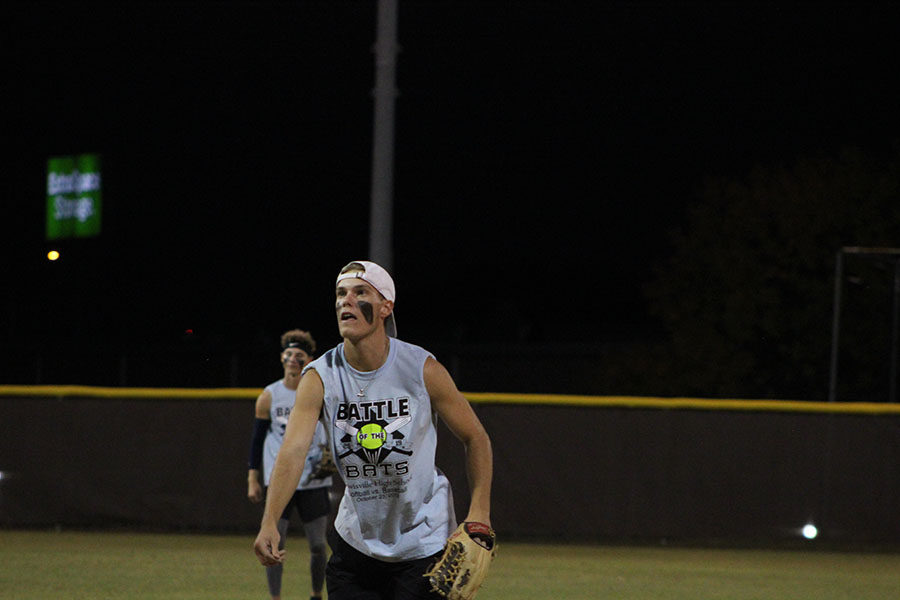 Senior Trey West watches the ball at the Battle of the Bats game on Wednesday, Oct. 23.