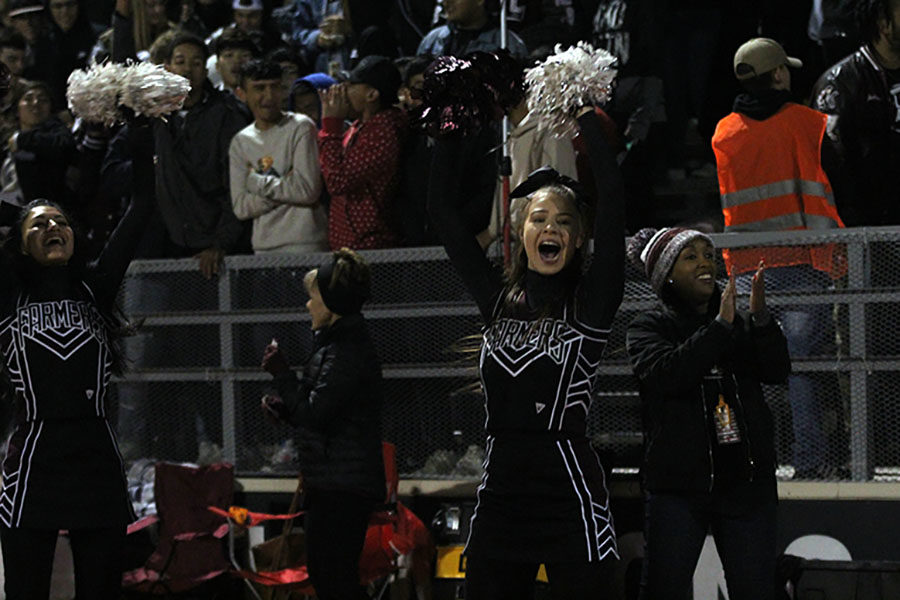 Junior Avery Williams waves her pom poms in celebration after a good play.