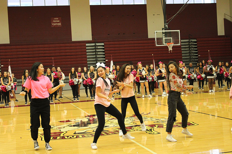 K-pop club president Senior Christine Ngo and her group perform at one of last year's pep rallies.