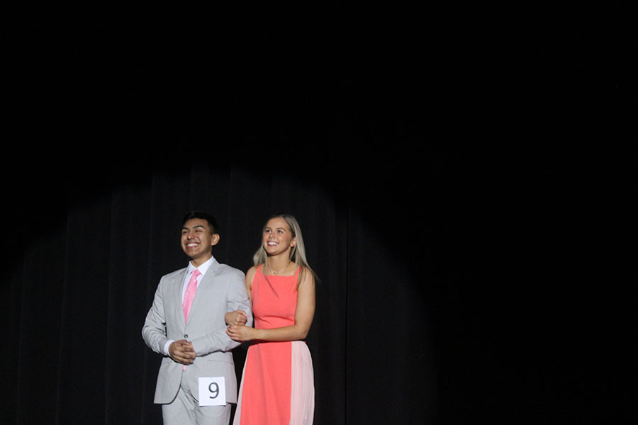 Senior Roberto Martinez poses with his escort senior Carolyn Vaughan for the formal wear portion.