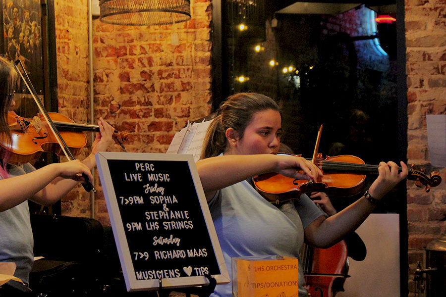 Senior Amy Rodriguez plays her violin and senior Lillian Chambliss plays her viola at The Perc Coffeehouse on Friday, Oct. 25.