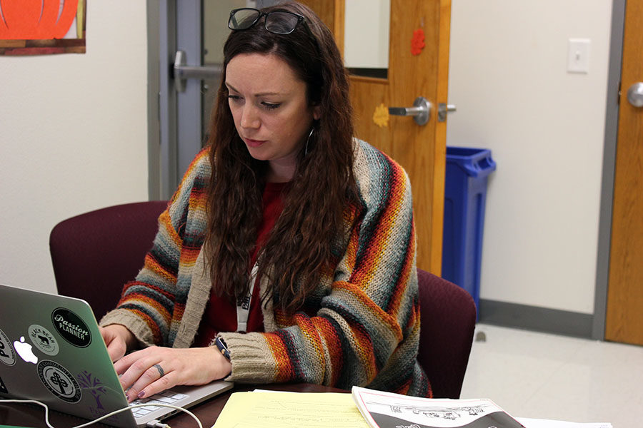 TWU psychology practicum student Jesse Allen looks through reports on her laptop during block lunch on Wednesday, Oct. 30.