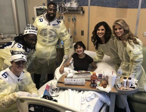 Dallas Cowboy football players and cheerleaders visit senior Janexci Camilo in the hospital for Christmas 2019.