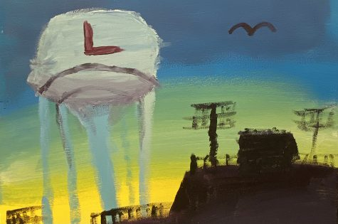 """When I moved to Lewisville in 1990, I immediately saw the tower and thought it was so cool a city would put their high school up on a big water tower,"" StuCo adviser Allison Stamey said. Artwork by Joseph Gonzalez."