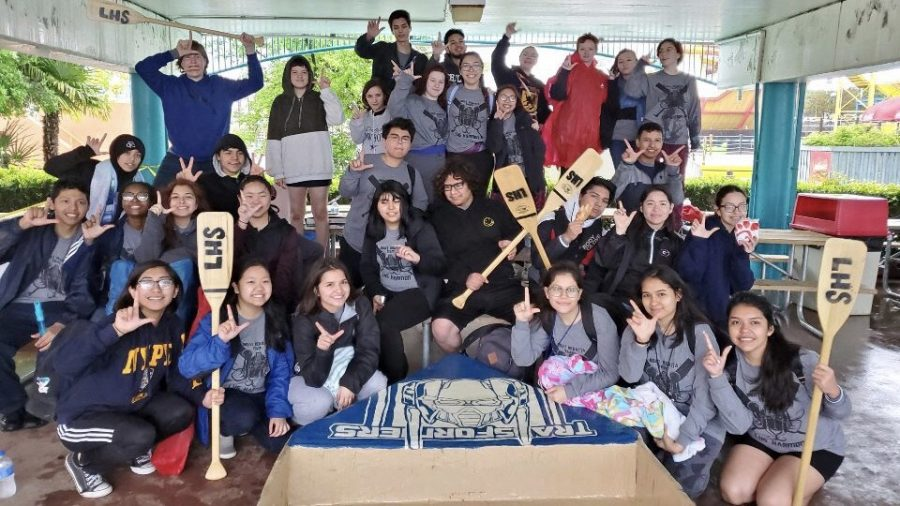 Senior Elizabeth Cadungog attends the boat regatta event with other members of art club where they built and painted a boat made entirely from cardboard. Photo courtesy of Elizabeth Cadungog.