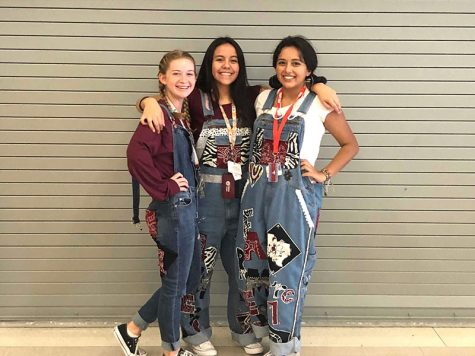 Senior Ashley Cortes takes a picture with Emily McGee and Ashley Aragon while dressing up for overall day. Photo courtesy of Ashley Cortes.