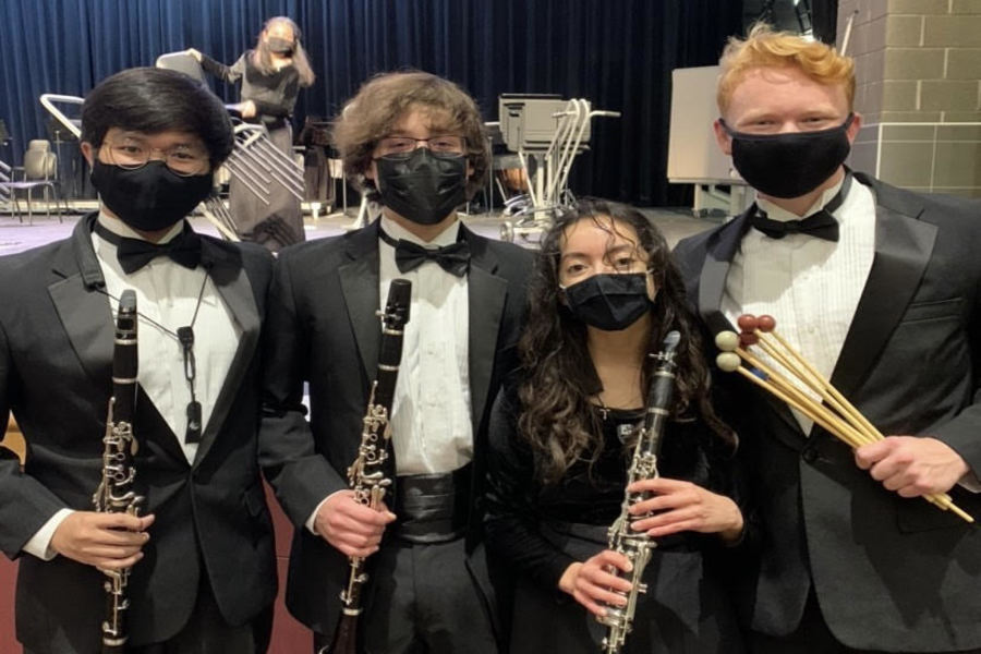 Senior Tony Tran poses with friends at a band concert. Photo courtesy of Tony Tran.