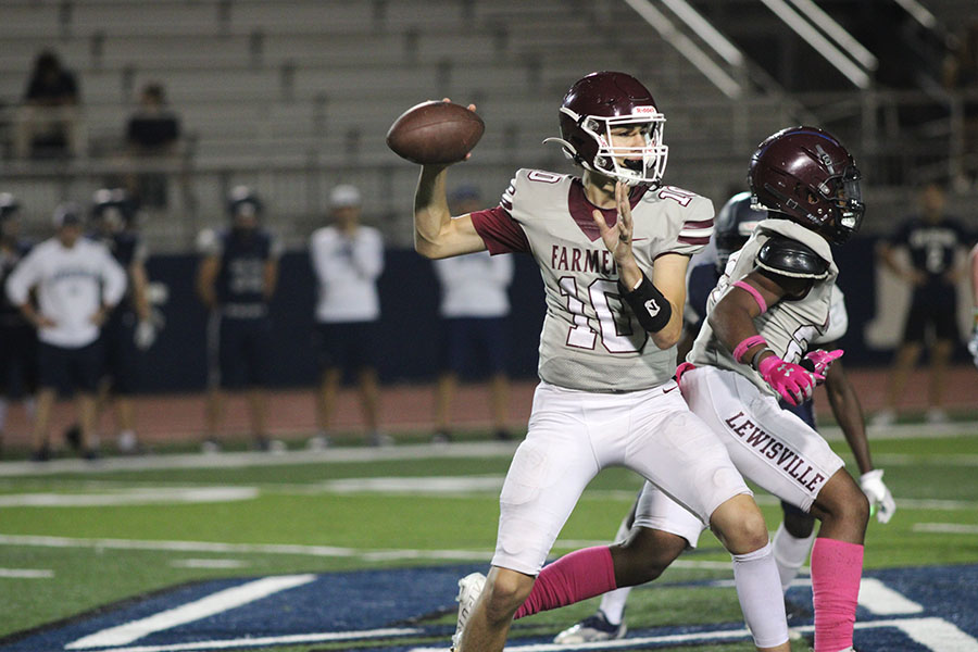 Sophomore quaterback Andrew Lewis (10) throws four touchdowns in the game against Flower Mound High School on Oct. 7.